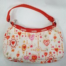 Le Sportsac Small Orange Hobo Purse Handbag Bag Hearts Vintage Made In The USA
