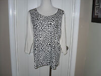 Chico's Zenergy Ella Animal Print Front Top Blouse 3 (16-18) Xl Ecru/black