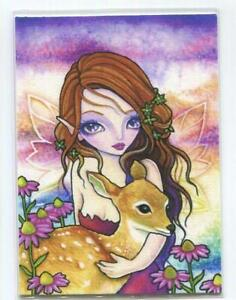 ACEO S/N L/E WOODS FAIRY DOE FAWN PURPLE CONE FLOWERS GARDEN FANTASY RARE PRINT