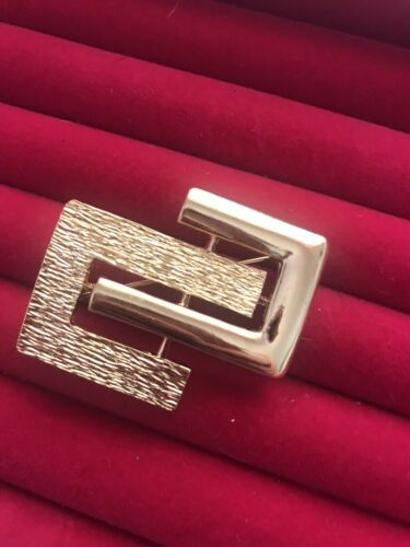 MONET Vintage Abstract Geometric Gold Tone Brooch