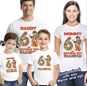 PERSONALIZED LEGO MOVIE BIRTHDAY T SHIRT PRESENT GIFT PARTY FAVOR TEE