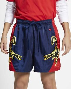 Nike-Sportswear-Woven-Shorts-Mens-Blue-Red-Scorpion-Activewear-Sport-AR1994-492