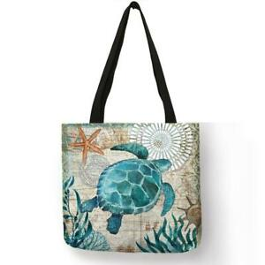 Customize Tote Bag Seahorse Turtle Octopus Pattern Traveling Shoulder Bags Eco L