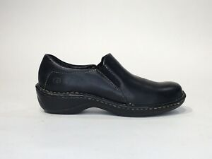 born womens sz 6 black leather slip on casual loafer shoes