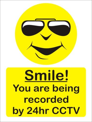 Smile your being recorded on cctv rigid 3mm sign warning 200mm x 150mm