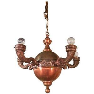 Arts crafts brass and copper pendant light chandelier ebay image is loading arts amp crafts brass and copper pendant light aloadofball Images