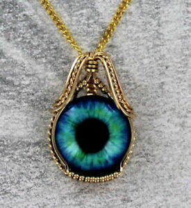 Glass-Eye-Pendant-Necklace-in-14kt-Rolled-Gold-Setting-Wire-Wrapped