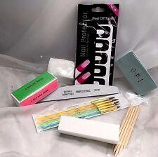 12 Pcs Nail Set. Acrylic Gel Brush/ Orange Wood/ Files/ Nail Protector/ Cotton