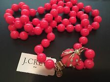 NWT J Crew Neon Dahlia Strand Beaded LADYBUG CLASP LONG NECKLACE & Dust Bag