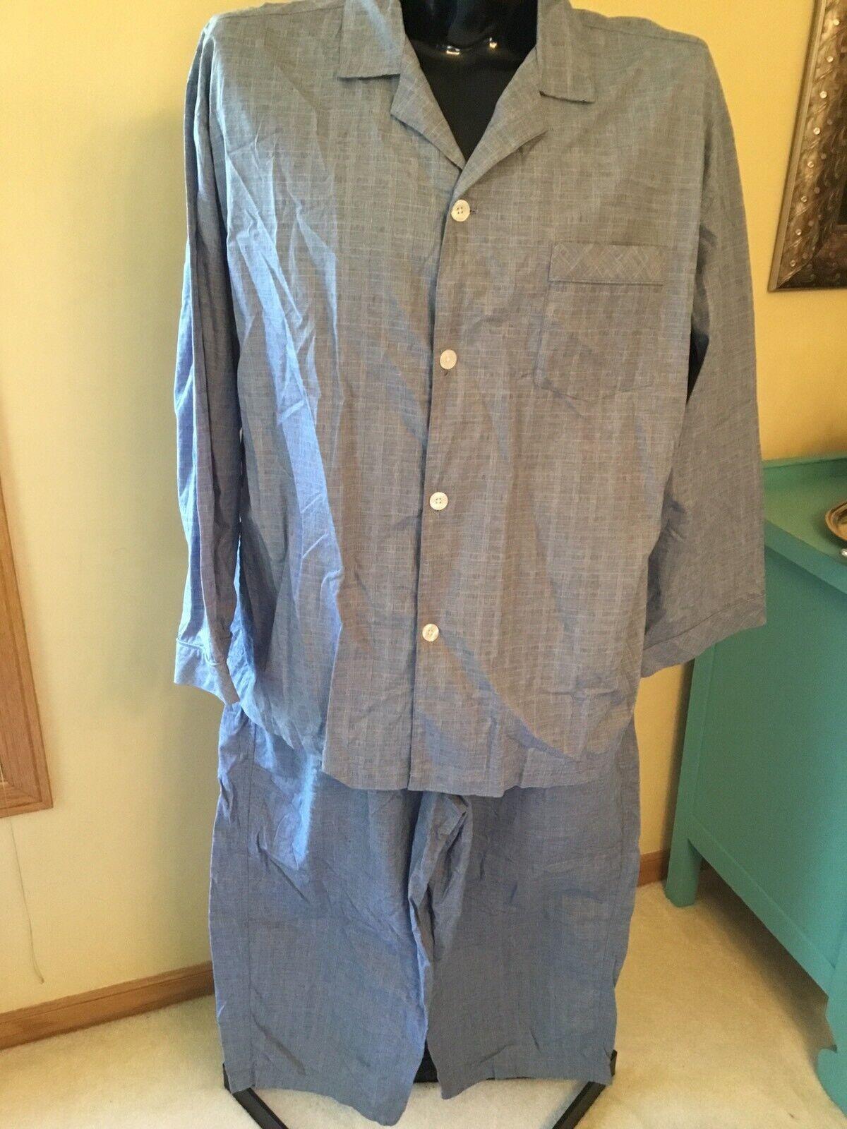 Roundtree & Yorke Sleepwear Mens Pajamas Set Size XL Top Pants Navy Plaid