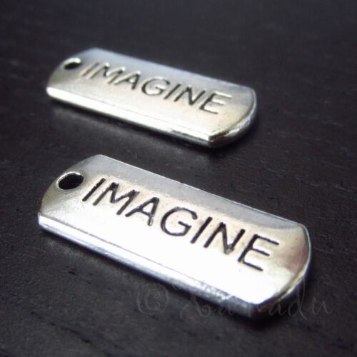 20 Or 50PCs Imagine Affirmation Message Antique Silver Plated Charms C3160-10