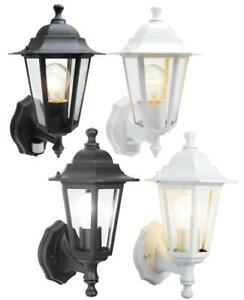 Details About 6 Sided Outdoor Wall Lantern Black Or White Motion Sensor Detector Pir