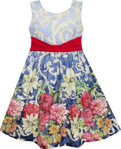 Sunny-Fashion-Girls-Dress-Sleeveless-Blooming-Flower-Garden-Print-Blue-Size-4-12