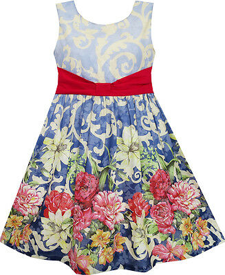 Sunny Fashion Girls Dress Sleeveless Blooming Flower Garden Print Blue 4-12 New