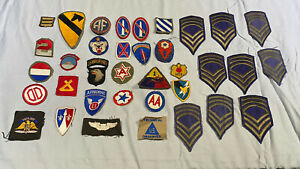 Vintage-Lot-U-S-Military-Patches-Stickers-Metal-Badges-Bars-WWII-ROTC-Lot-2