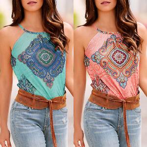 9bd88635d2ba0 Women Boho Floral Print Sleeveless Halter Neck Vest Top Summer Beach ...