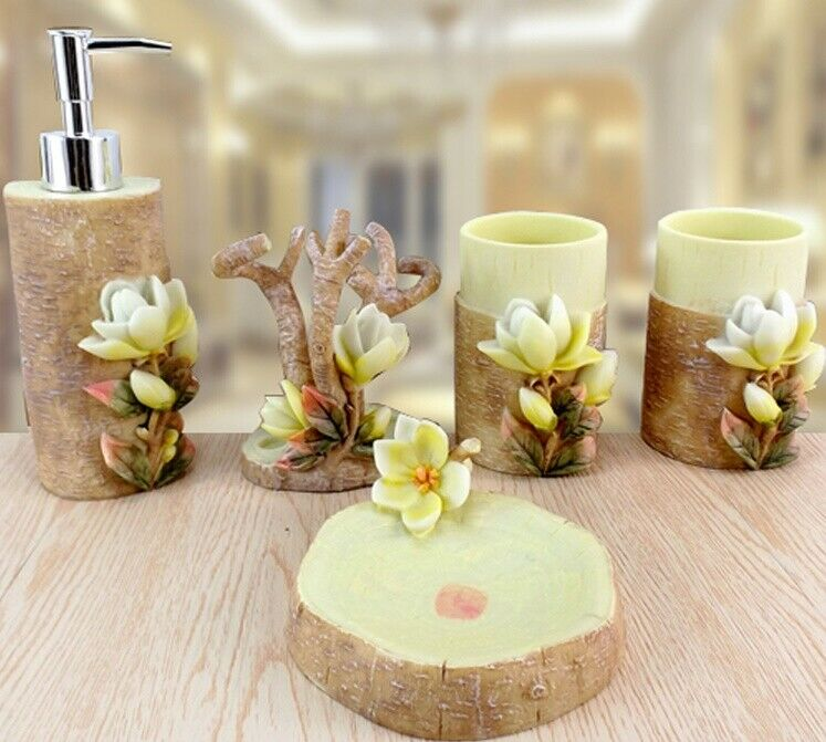 D44 Modern Style Resin Magnolia Bathroom Accessories Wedding Present Set 5 Pcs A