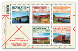 in-stock-2019-Canada-Historic-Covered-Bridges-Souvenir-Sheet-Of-5-Stamps