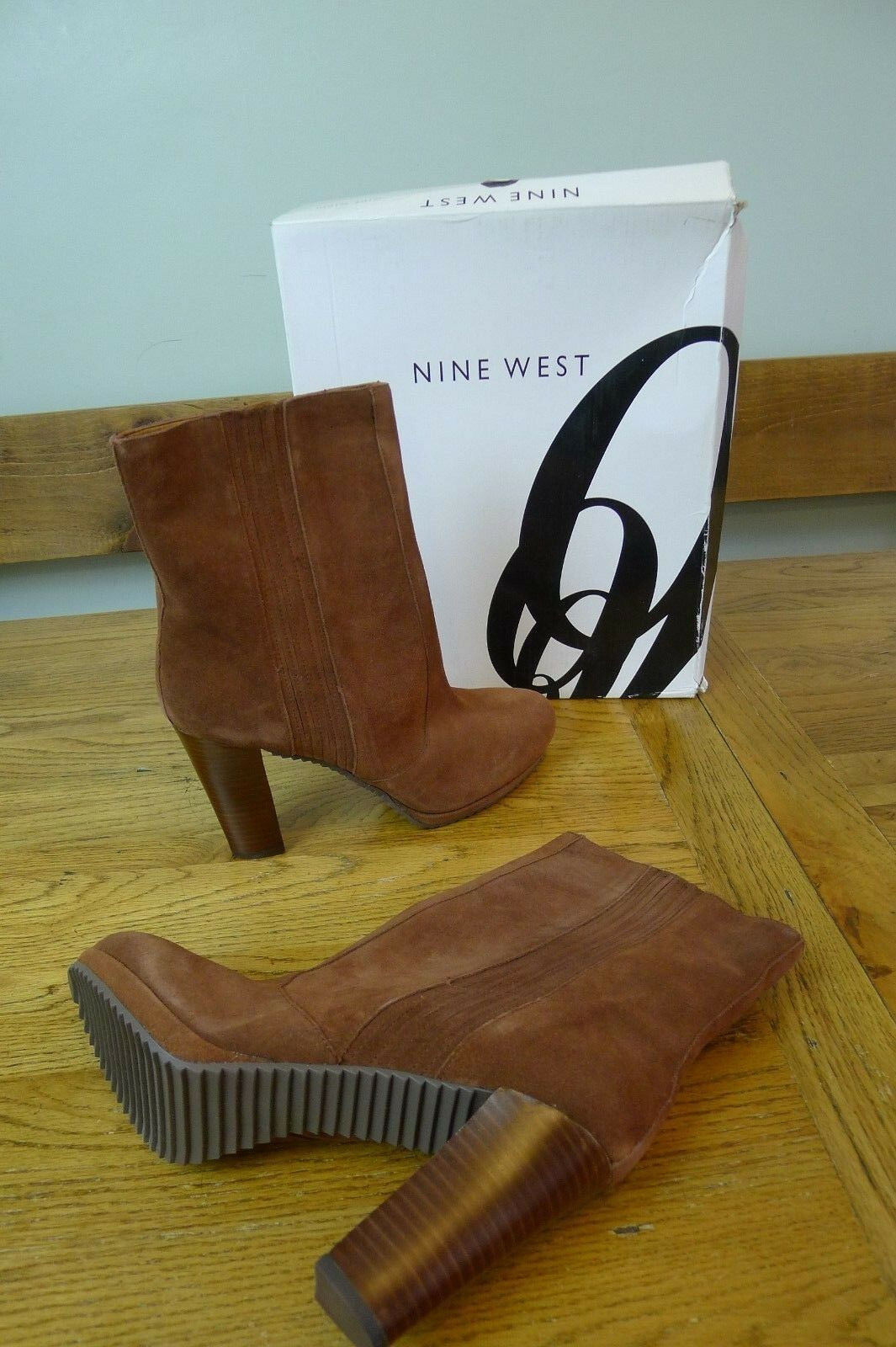 Nouveau NINE WEST en Daim Marron Bottines à talon haut pointure UK 8, US 10, EU 41.5