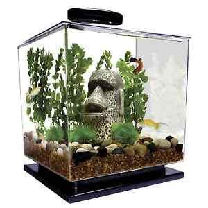 Cube aquarium starter kit tank led light water filter for Above water fish tank