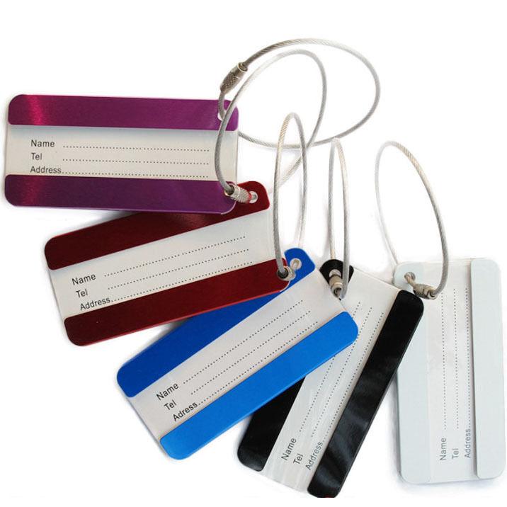4PCs Aluminum Travel Luggage Tags Airplane Bag Suitcase Cards Name Address Label