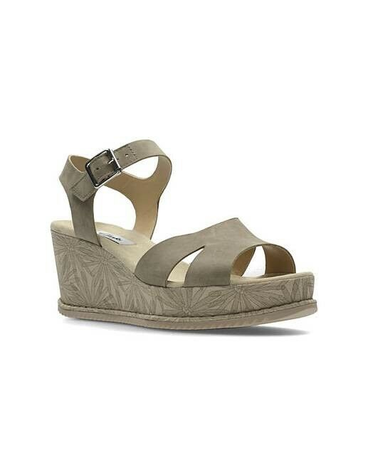 Clarks Ladies Akilah Eden Sage Nubuck Casual Wedge Sandals Size UK 5   38