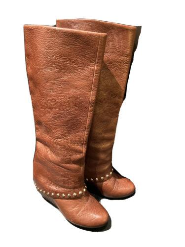 BCBG Generation Brown Wedge Heel Boots Studded kne