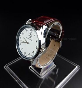 Mercedes benz mens watch stainless steel brown leather for Mercedes benz watches ebay