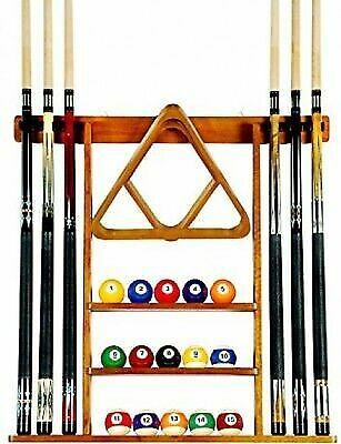 Pool Cue Rack Oak Billiard Stick Wall