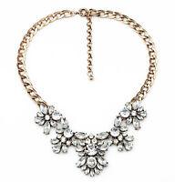 Fashion Charm Jewelry Antique Clear Crystal Wedding Bib Statement Chain Necklace