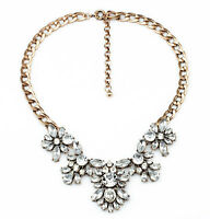Fashion Charm Jewelry Antique Clear Crystal Wedding Bib Statement Chain Necklace