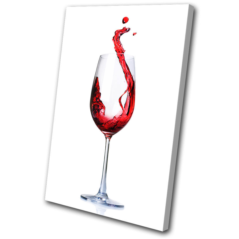 Canvas Art Print rosso Wine Glass Splash Kitchen Dining Room Conceptual Abstract
