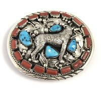 Native American Sterling Silver Handmade Turquoise And Coral Belt Buckle