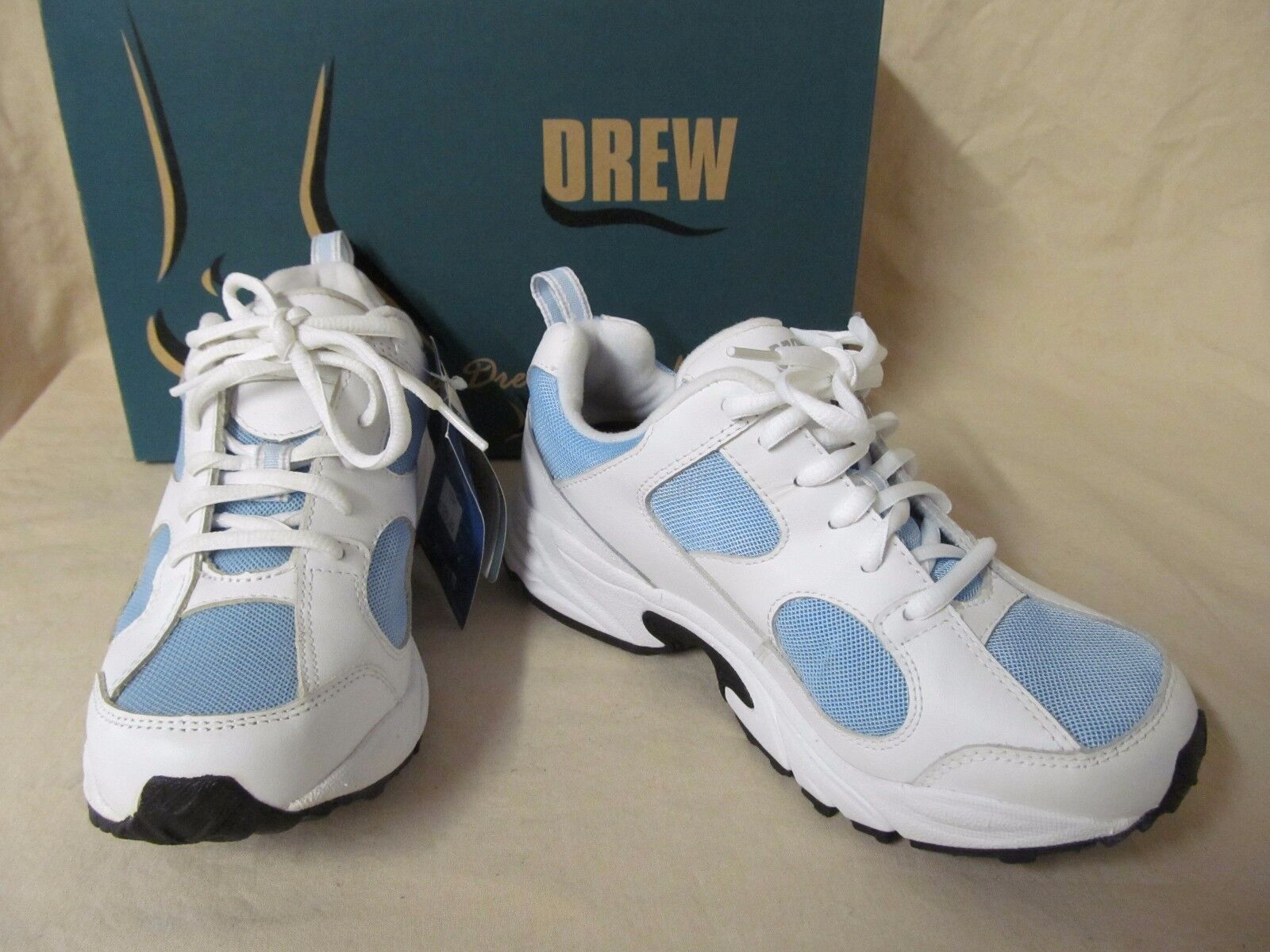 NWD Drew 6.5 M Flash Blanc  Bleu Leather Lace Up Athletic Chaussures Sneakers B