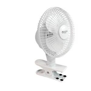 "Comfort Zone 6"" Portable Clip-On Desk Fan 2-Speed Adjustable Quiet 360° Rotation"