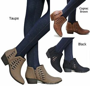 fa06698b8f65 New Women SChc Black Brown Taupe Cut Out Ankle Booties Low Heel ...