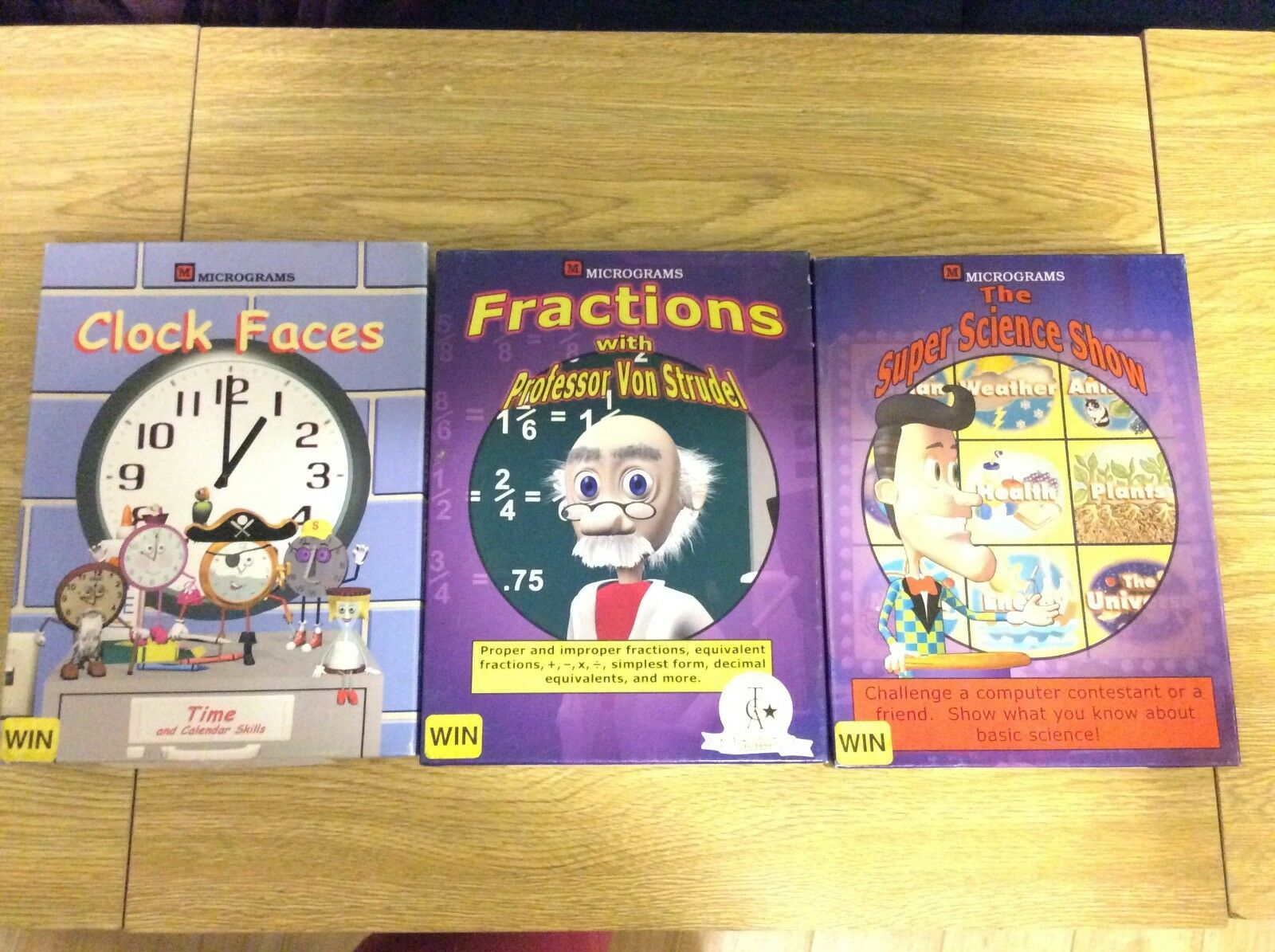 Micrograms Educational Disc Lot Science Show Fractions Clock Faces School Games