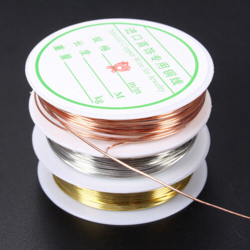 0.3//0.4//0.6//0.8mm Gold Silver Plated Copper Wire Beads Jewelry Making DIY B/&H