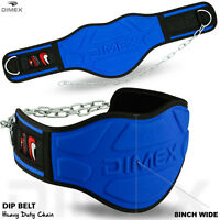 """Dipping Belt Body Building Weight Lifting Dip 8"""" Wide Chain Exercise Gym Blue"""