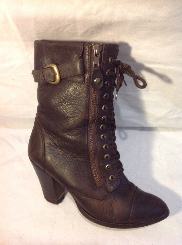 Stephanie Ascencio Brown Mid Calf Leather Boots Size 4