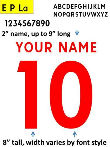 IRON ON custom heat press transfer numbers for soccer jersey DIY EPL2017