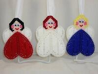 Little Angel Hearts - Handmade Plastic Canvas Ornaments - Set Of 3