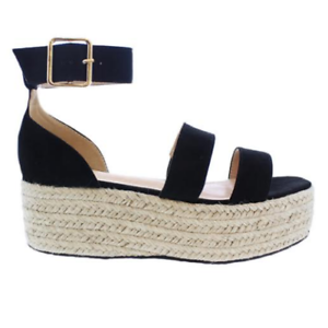 ea8bc944c880 Liliana RASHA-7 Black Ankle Strap Open Toe Natural Espadrille ...