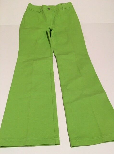 St John Women's Lime Green Stretchy Bootleg Pants 29  Waist 32  Inseam Size 6