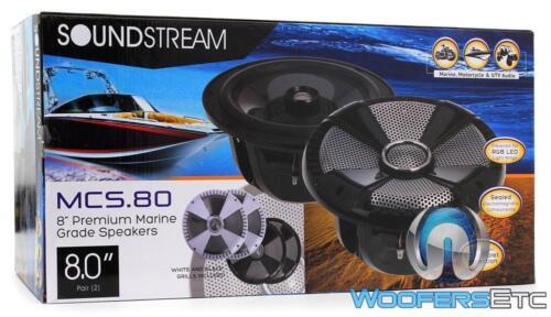 "SOUNDSTREAM MCS.80 8/"" MARINE 250W 2-WAY TITANIUM TWEETERS COAXIAL SPEAKERS NEW"