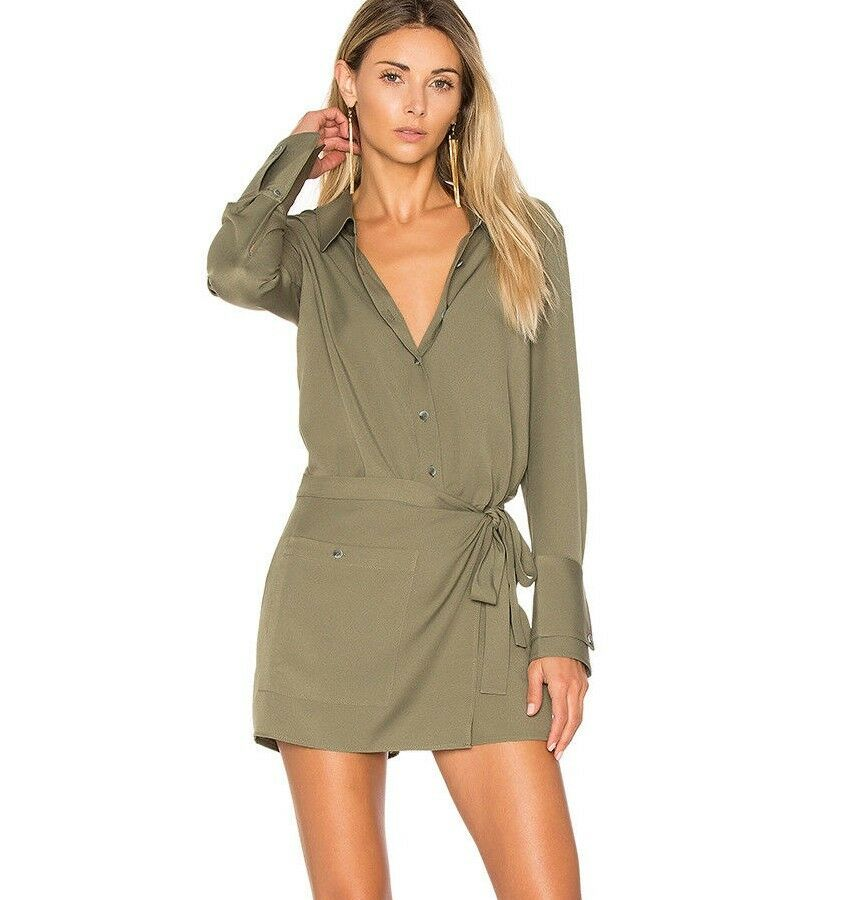 325 NWT HALSTON HERITAGE Sz6 FAUX WRAP LONG SLEEVE BUTTON FRONT ROMPER IN MOSS