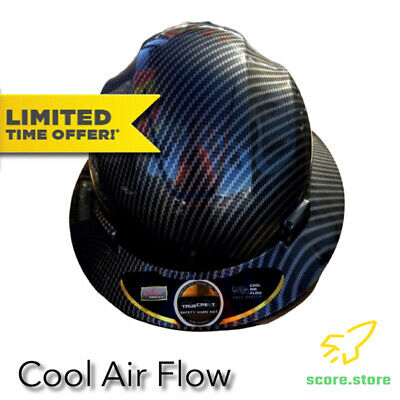 Fiberglass Hard Hat Black//silver  Cool Air Flow