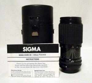 SIGMA-f-3-5-4-5-35-135mm-Zoom-Lens-SLR-Film-Camera-KONICA-AR-Micro-4-3-w-Case
