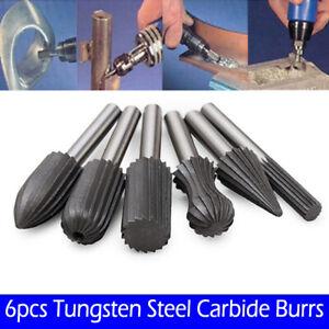 6-Stuecke-Schaft-6mm-Carbid-Stahl-Kopf-Hartmetall-Fraeser-Dreh-Datei-Schleif