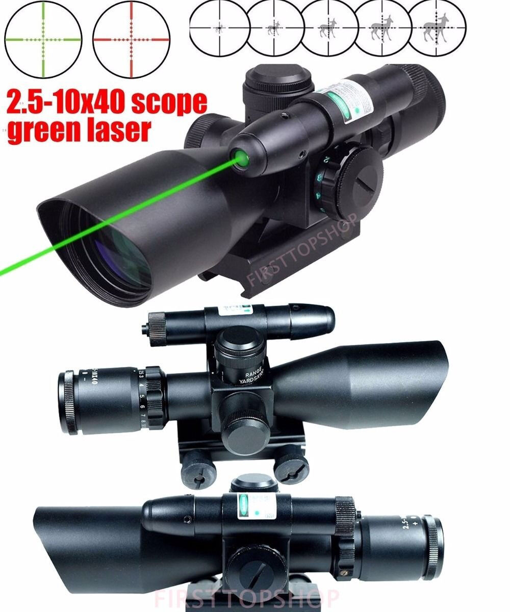 2.5-10X40 Tactical Tactical 2.5-10X40 Rifle Scope w/ Grün Laser & Mini Reflex 3 MOA ROT Dot Sight ad1f7b